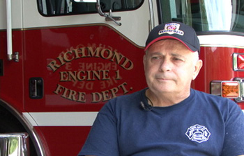 A still from Lost And Found in The Flood:  Fire chief Thomas Levesque talking about the Irene flooding in Richmond